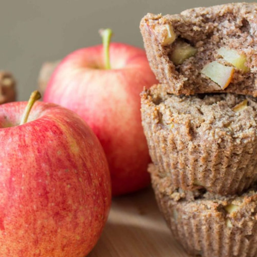 spiced apple protein muffins